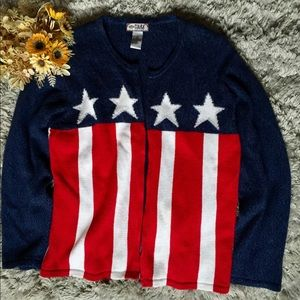 Tiara International Zip Knitted USA Sweater Jacket